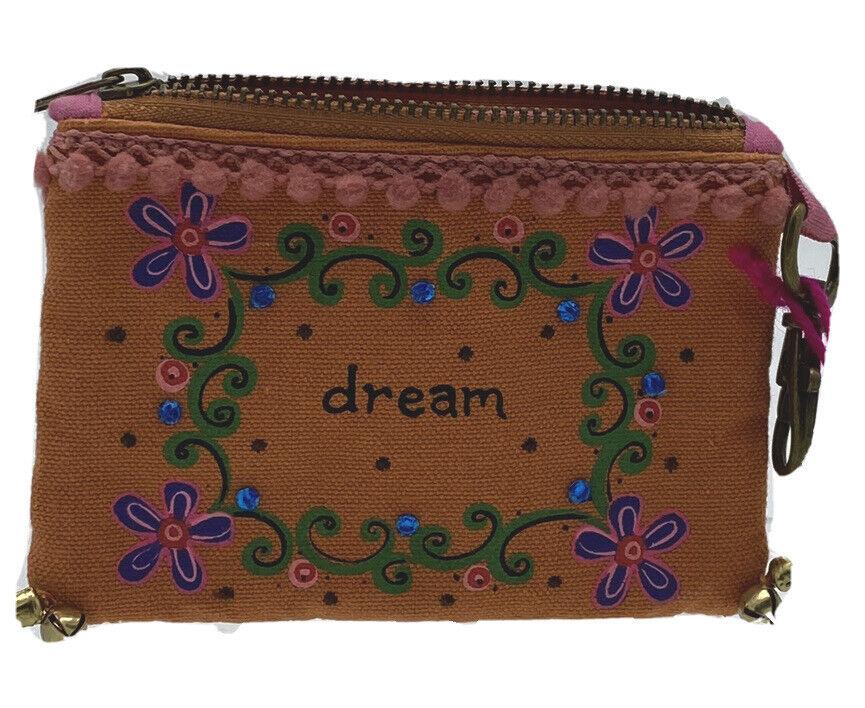 Natural Life Dream ID Credit Card BoHo Wallet Coin Purse Zipper Pouch Hook Clip