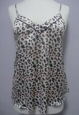 Womens Long Vest Camisole Strappy Top Kitten Print Grey Size 10 to 12 A10