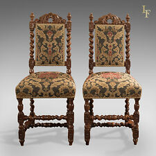 Pair of Antique, Hall Chairs, Victorian, Oak, Needlepoint, Dining English c1870