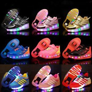 Xmas Kids LED Light Wheels Retractable Roller Skate Shoes Girls Boys Sneakers