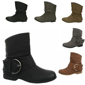 Details zu Damen Stiefeletten Cowboy Western Stiefel Boots Flache Schlupfstiefel Schuhe