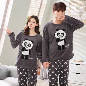 e4d61c399c Couple Unisex Sleepwear Warm Winter Fleece Top+Pants Suit Nightwear ...