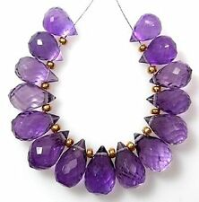 14 GENUINE AFRICAN AMETHYST FACETED DROP BRIOLETTE BEADS 8-9 mm   A3