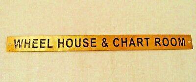 12 x 1 Inches 313 WHEEL HOUSE /& CHART ROOM Marine BRASS Door Sign