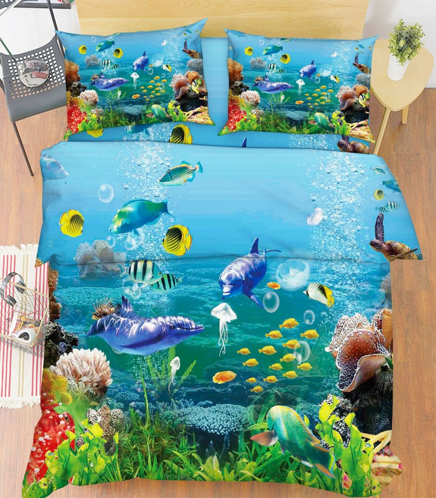 3D Dolphin Sea World 2 Bed Pillowcases Quilt Duvet Cover Set Single Queen King