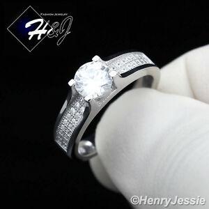 Women 925 Sterling Silver Iced Out Bling Cz Engagement Ring Size 6 9