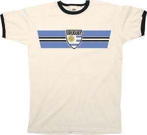 Mens URUGUAY Football T-Shirt WORLD CUP 2018 Russia Retro Strip Kit ... 9493aad6d
