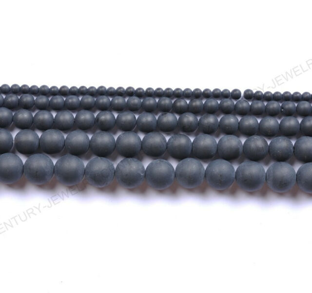 "16""Matte Black Onyx Natural Gemstone Round Bead 4MM 6MM 8MM 10MM 12MM #36"