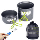 Outdoor Camping Picnic Cookware Cooking Aluminum Pot Bowl Set+Knife Fork Spoon