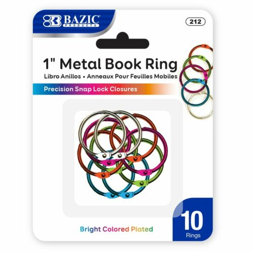1 Inch Metal Assorted Color Book Rings 10 Pieces Per Pack - School, Office B212
