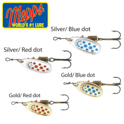 SILVER WITH RED BLUE DOTS CHOOSE SIZE MEPPS COMET SPINNERS GOLD