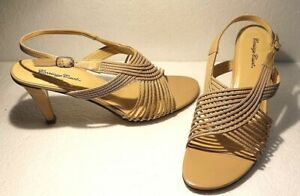 CARRIAGE-COURT-Salsa-Womens-Size-7-5-Heels-Beige-Tan-Strappy-Open-Toe-Slingback