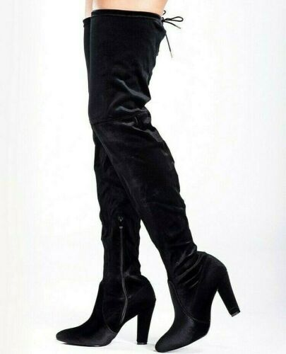 36 WOMENS BLACK VELVET THIGH HIGH BOOTS OVER THE KNEE PARTY BLOCK HEEL SIZE 3