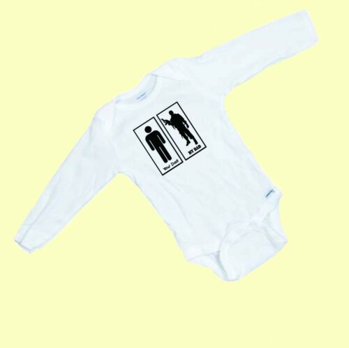 Your Dad  My Dad   LONG SLEEVE funny baby Onesie Romper Makes a Great Shower