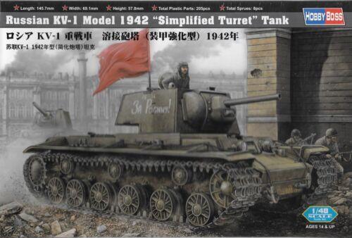 """1//48 HOBBY BOSS 84812 KV-1 Model 1942 """"Simplified Turret"""" Tank  Model Kit"""