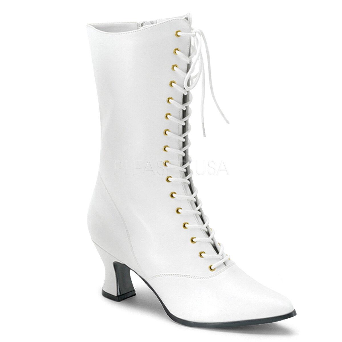 blancoo Victoriano Eduardiano Steampunk Boda Abuela botas Con Con Con Cordones Talla 9 10 11 12  marcas de diseñadores baratos