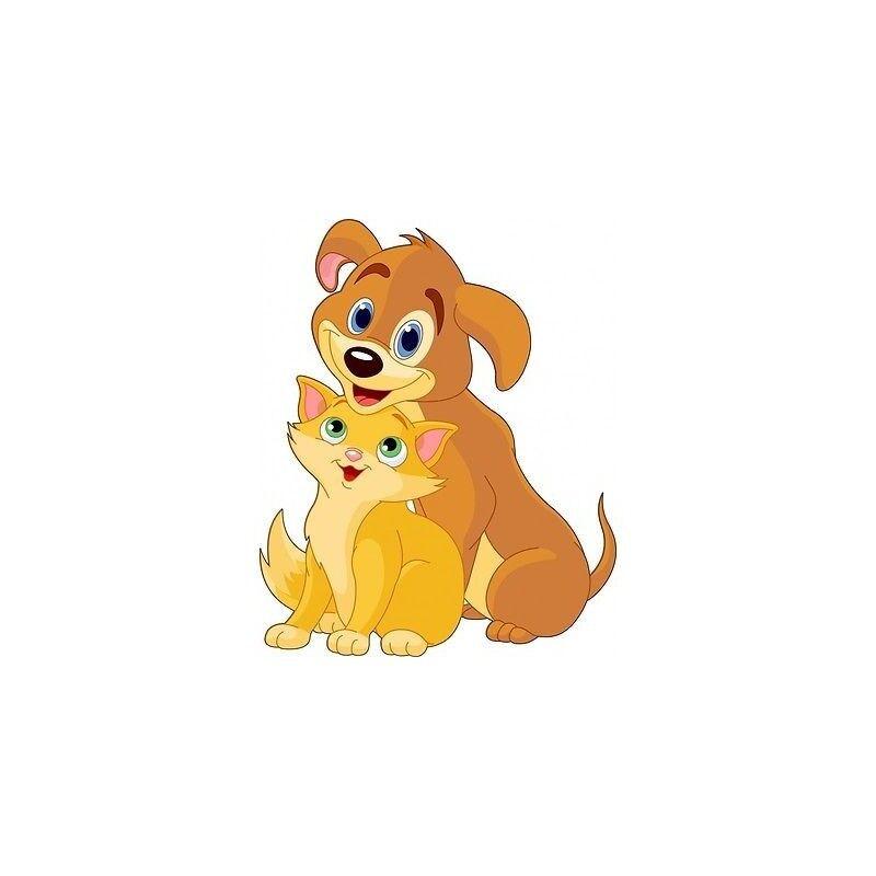 Aufkleber Kind Hund und Katze- Ref 201