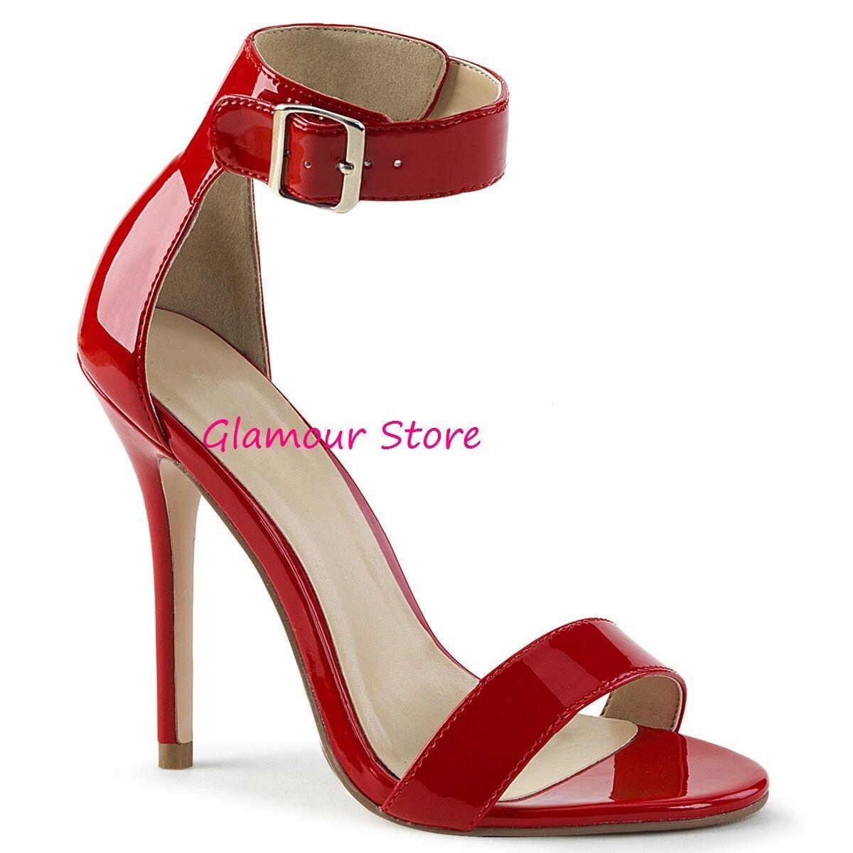 Sexy SANDALI tacco 13 dal 35 al 46 ROSSO LUCIDO cinturino scarpe GLAMOUR fashion