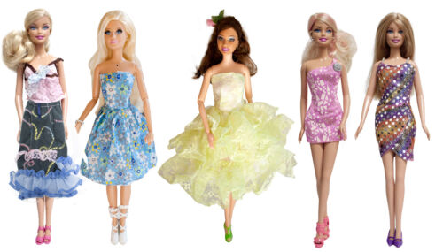 5 Pairs of shoe 10 Pcs Doll clothes Set 5 Handmade Fashion Dresses Short Gown
