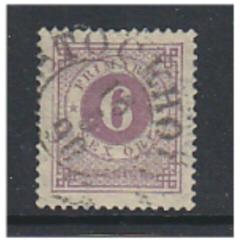 Sweden 1890, 6 ore Mauve Blue Posthorn on back GU SG 33a a
