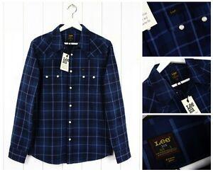 Nueva-Camisa-Lee-101-Rider-cuadros-azules-Azul-Marino-Regular-Fit-diente-de-sierra-S-M-L-XL