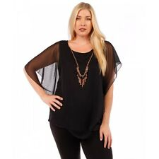 Womens Yummy Plus Black Chiffon Top with Necklace Size 4X