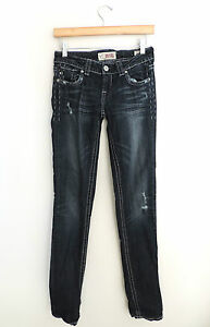 Women-039-s-MEK-Denim-Dark-Studded-Cigarette-Jeans-Size-25