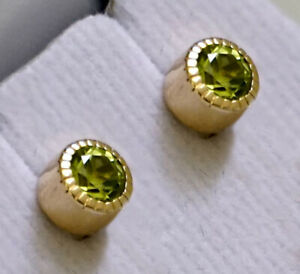 Solid 9K Gold 9ct Gold Peridot Stud Earrings