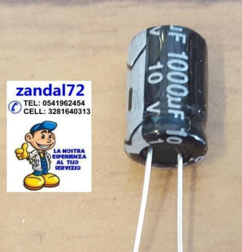 20 PEZZI CONDENSATORE ELETTROLITICO VERTICALE 1000uF 10V 105° 8x12 PASSO 3,5mm