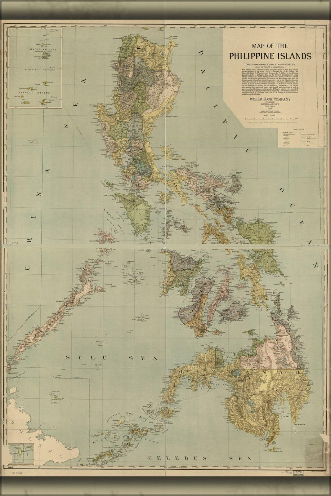 Plakat, Viele Größen; Landkarte der Philippine Inseln Philippinen
