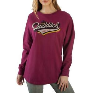 Harry Potter Women's Quidditch Graphic Licensed Long Sleeve T-Shirt Burgundy New