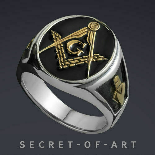 Masonic  Blue Lodge Silver 925 Sterling Ring With 24k Gold-Plated Parts