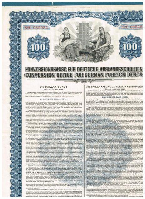 Konversionskasse für Deutsche Auslandsschulden, 1936, 100USD, ungelocht