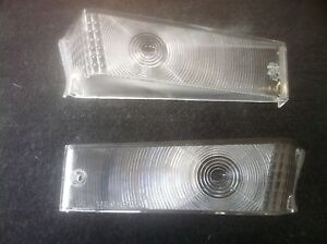 70-73-FORD-F100-PARTS-GRILLE-INDICATOR-LIGHT-LENS-PAIR-L-R-CLEAR-FROSTED-NEW