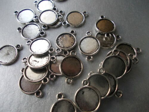10MM TRAY SILVER COL ROUND CABOCHON MOUNT CM5 CHOSE 5,10 CONNECTOR SETTING