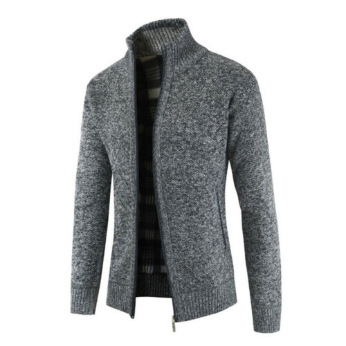 Herren Weiche Wollen Strick Reißverschluss Hochkragen Jacke Pullover Sweater Top