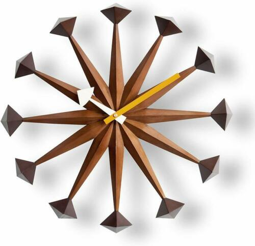 George Nelson Polygon Designer Wall Clock Daiva Walnut Brown 43cm Wooden DAIVA