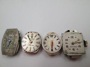 Detalles de Cuatro máquinas y esferas relojes suizos pulsera mujer. Cuerda manual. Años 40