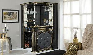 ... Wohnzimmer Bar Eckbar Theke Schwarz Hochglanz Eco Leder