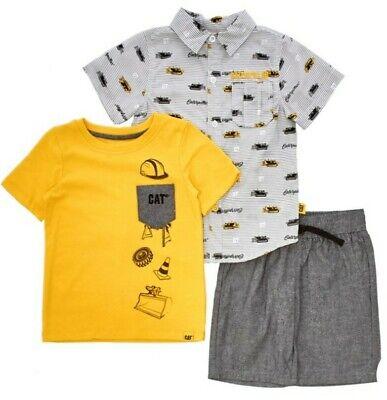 Boys Size 2T 3T 4T Shirts Shorts Construction 3 Pieces Kids Headquarters NWT