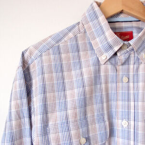 RM-WILLIAMS-Mens-Size-M-Blue-Brown-Check-Button-Down-Collar-Long-Sleeve-Shirt