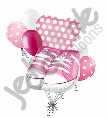 7 pc Baby Girl Shoes Balloon Bouquet Party Decoration Baby Shower Booties Pink