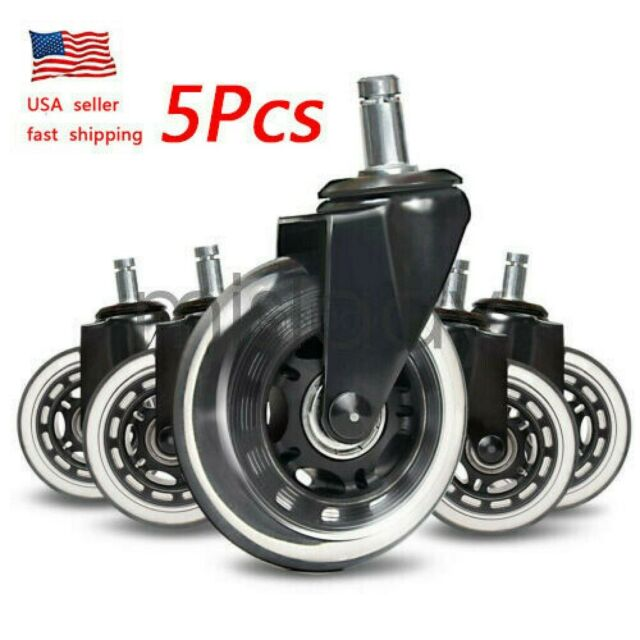 NEW 5Pcs Office Chair Caster Rubber Swivel Wheels Replacement Heavy Duty 3 inch