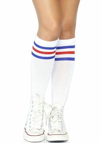 Leg Avenue Gestreift Kniehoch Athletic Sports Socken Grün Rot Blau Prep Look