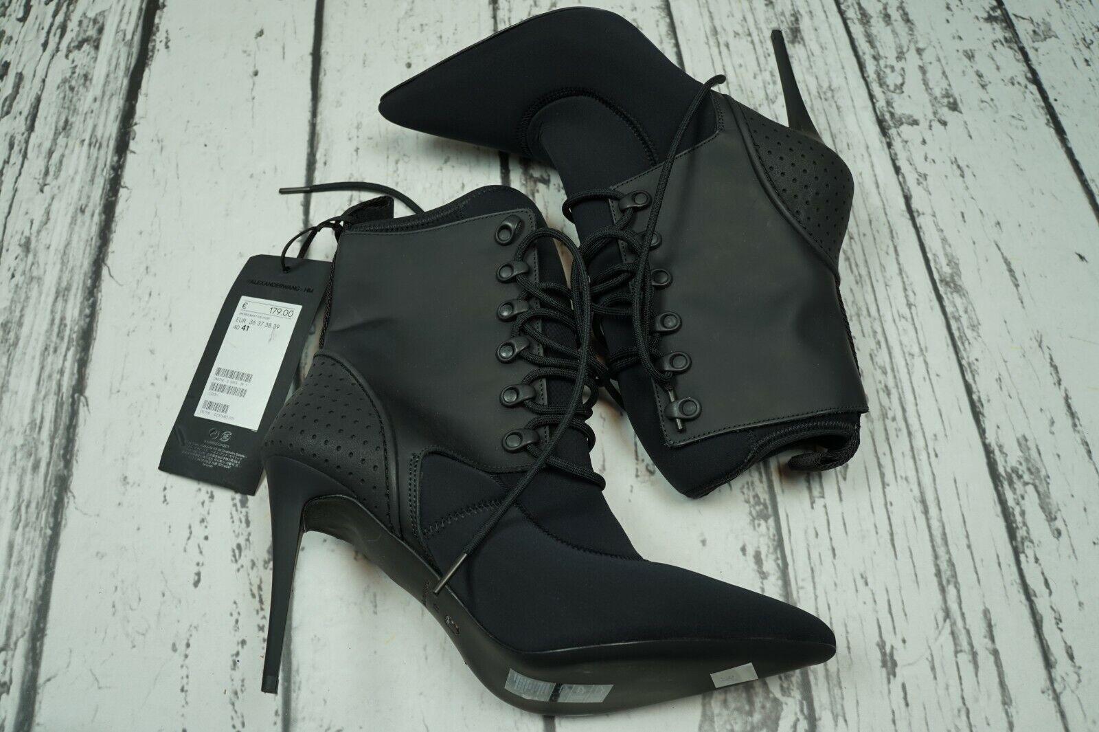 vendita online ALEXANDER WANG H&M Pointed Scuba Fabric Leather Laces stivali stivali stivali Heels 41 US9,5 (17)  prezzo all'ingrosso