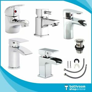 Modern Bathroom Taps Sink Chrome Brass Mono Basin Mixer Tap Free Waste & Fixings