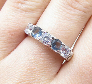 925 Sterling Silver - Faceted Blue & White Topaz 5-Stone Band Ring Sz 7 - RG1645