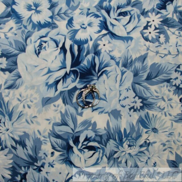 BonEful Fabric FQ Cotton Quilt Blue Navy White French Country Rose Flower Large