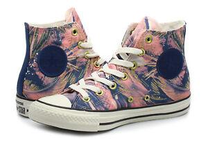 Women-039-s-Converse-All-Star-Hi-Print-Sneaker-Navy-Blue-Pink-Gold-559863C-Sz-6-NIB