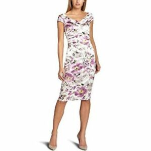 MAGGY-LONDON-Women-039-s-Size-8-Purple-Lilac-Floral-Watercolor-V-Neck-Sheath-Dress